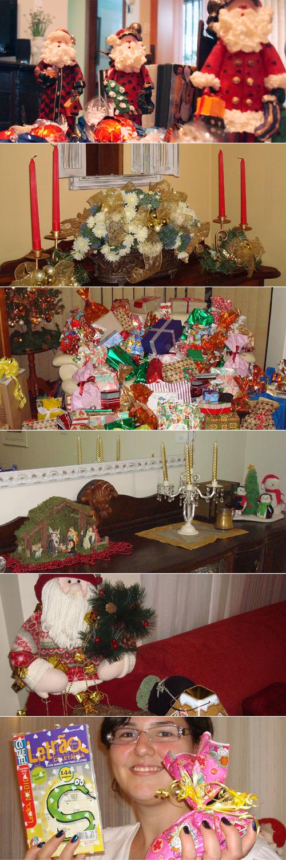 Decoração pela casa (tem MUITO mais coisa, minha mãe enfeita a casa totalmente pro Natal), presentes (um mooonte!) e eu com dois dos presentes que peguei no nosso sorteio natalino: palavras-cruzadas (adoro!) e um saquinho de pedras (que dava peso ao pacote).