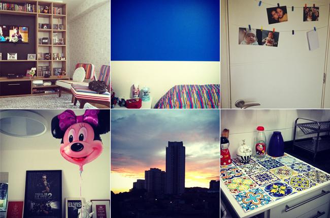 Coisas que eu adorava e ficara pra trás: estante da sala e o papel de parede, a parede azul do quarto, o varal de fotos da porta de entrada, o aparador com os únicos quadros da casa, a vista linda pro nascer do sol e o tampo da cozinha feito pelo namorado. <3