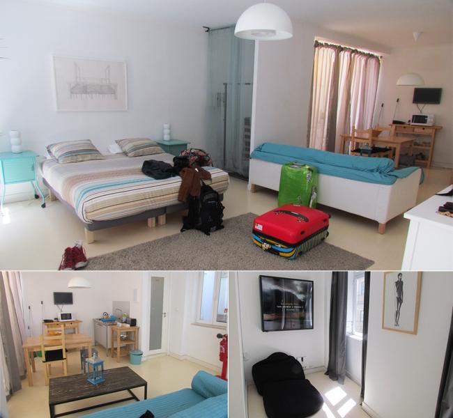 Nossa suíte: cama gostosa, bastante espaço, sofá, mini cozinha, quintalzinho, banheiro e pufe para leitura.