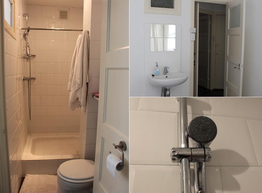 O banheiro, a pia que ficava no quarto e o nosso improviso com o chuveiro.