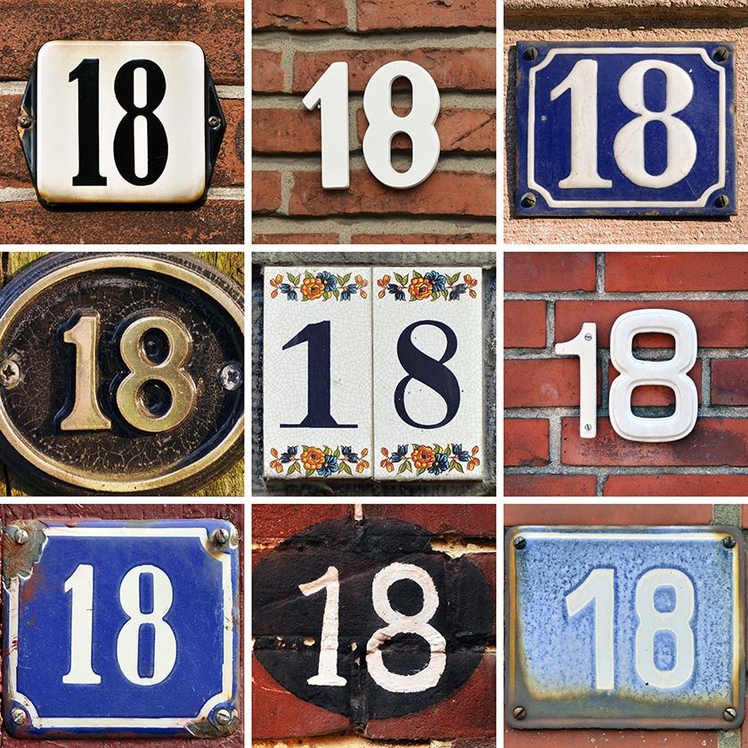 Foto: Colagem de números de casa, por Shutterstock.